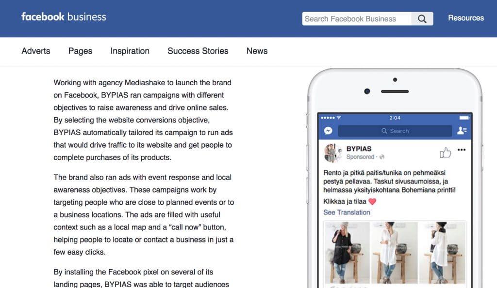 Facebook-mainonnan onnistumistarina