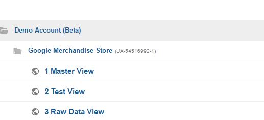 Näkymät Google Analyticsissa